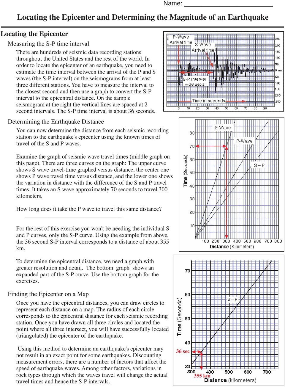 worksheet Find The Epicenter Worksheet locating the epicenter and determining magnitude of an in order to locate earthquake you need estimate time