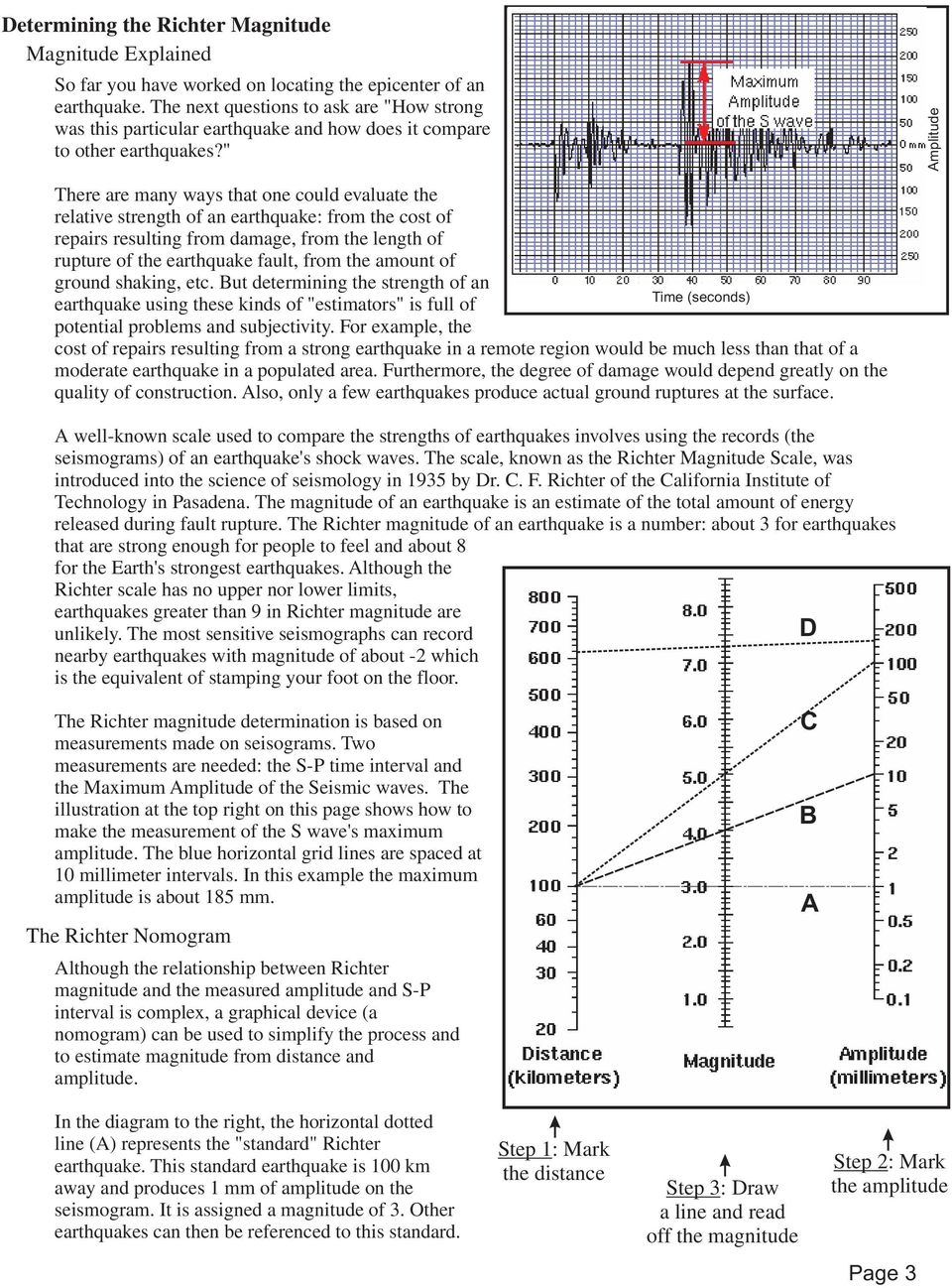 richter scale worksheet the best and most comprehensive worksheets. Black Bedroom Furniture Sets. Home Design Ideas