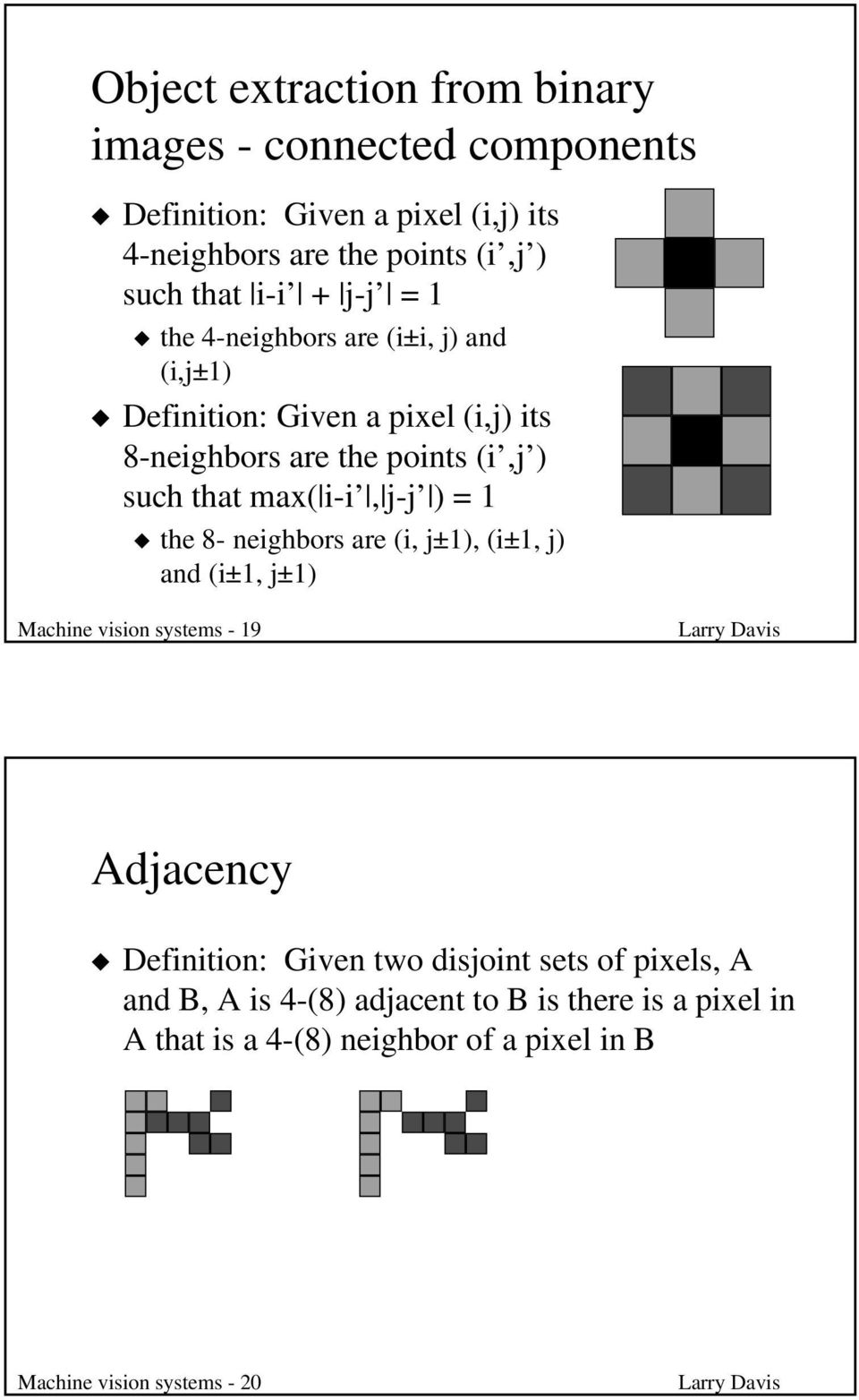 i-i, j-j ) = 1 the 8- neighbors are (i, j±1), (i±1, j) and (i±1, j±1) Machine vision systems - 19 Adjacency Definition: Given two disjoint