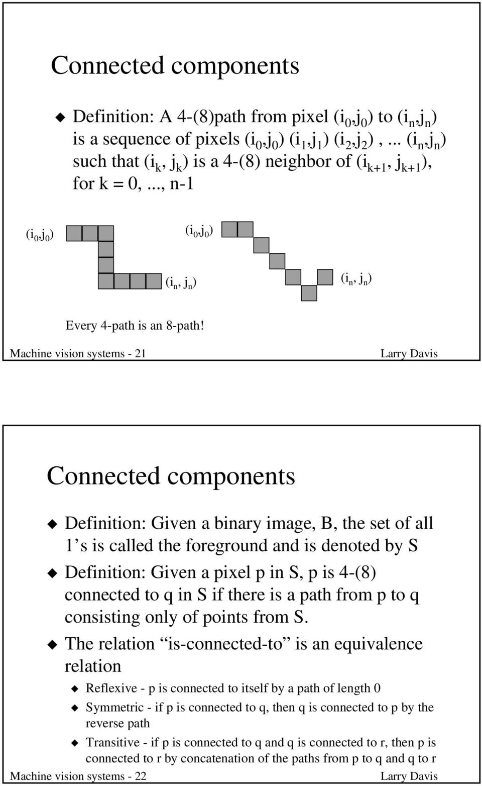 Machine vision systems - 21 Connected components Definition: Given a binary image, B, the set of all 1 s is called the foreground and is denoted by S Definition: Given a pixel p in S, p is 4-(8)