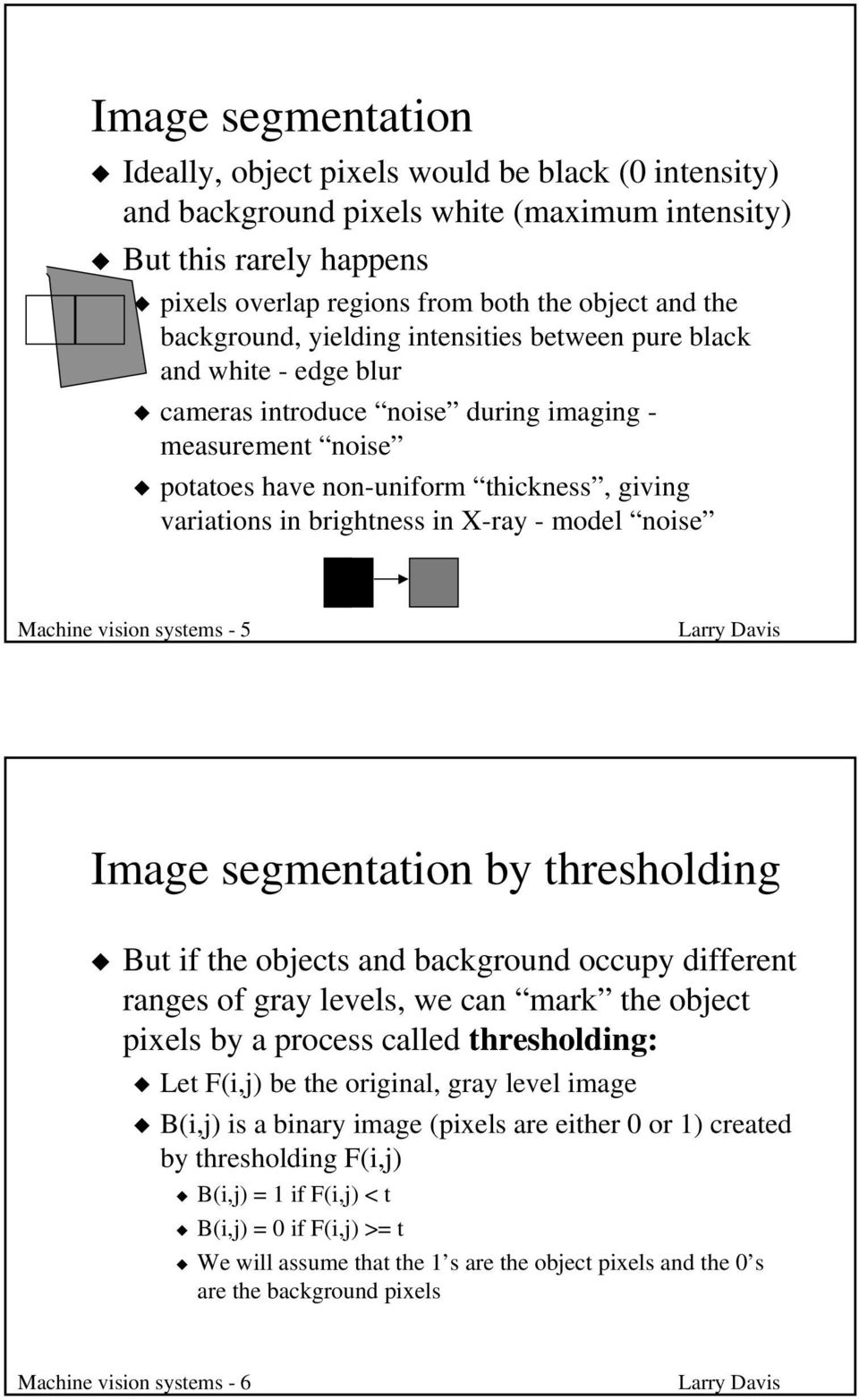 brightness in X-ray - model noise Machine vision systems - 5 Image segmentation by thresholding But if the objects and background occupy different ranges of gray levels, we can mark the object pixels