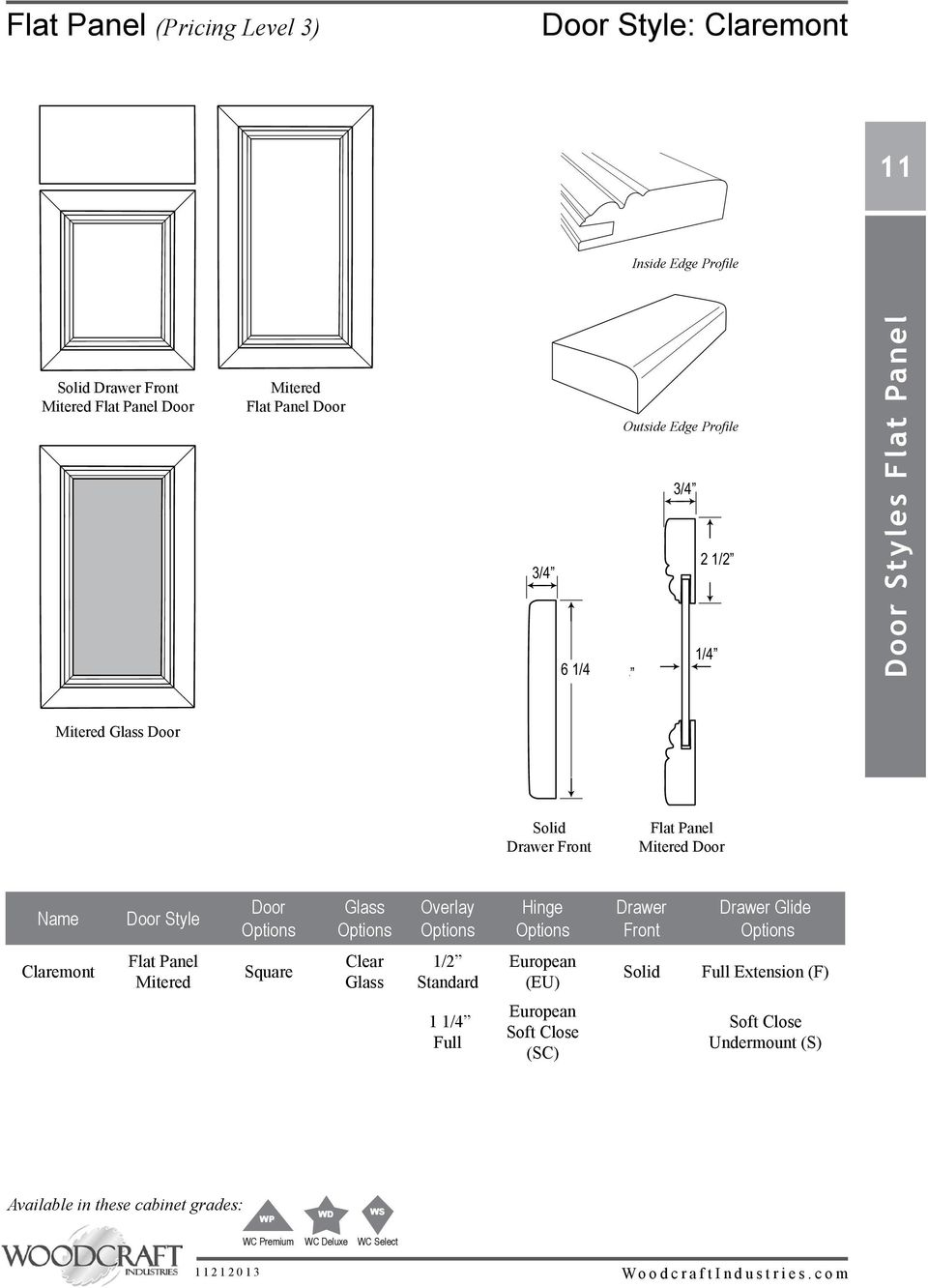 Overlay Hinge Drawer Front Drawer Glide Claremont Flat Panel Mitered Square Clear Glass 1/2 Standard European (EU) Solid Full Extension (F) 1 1/4 Full European Soft