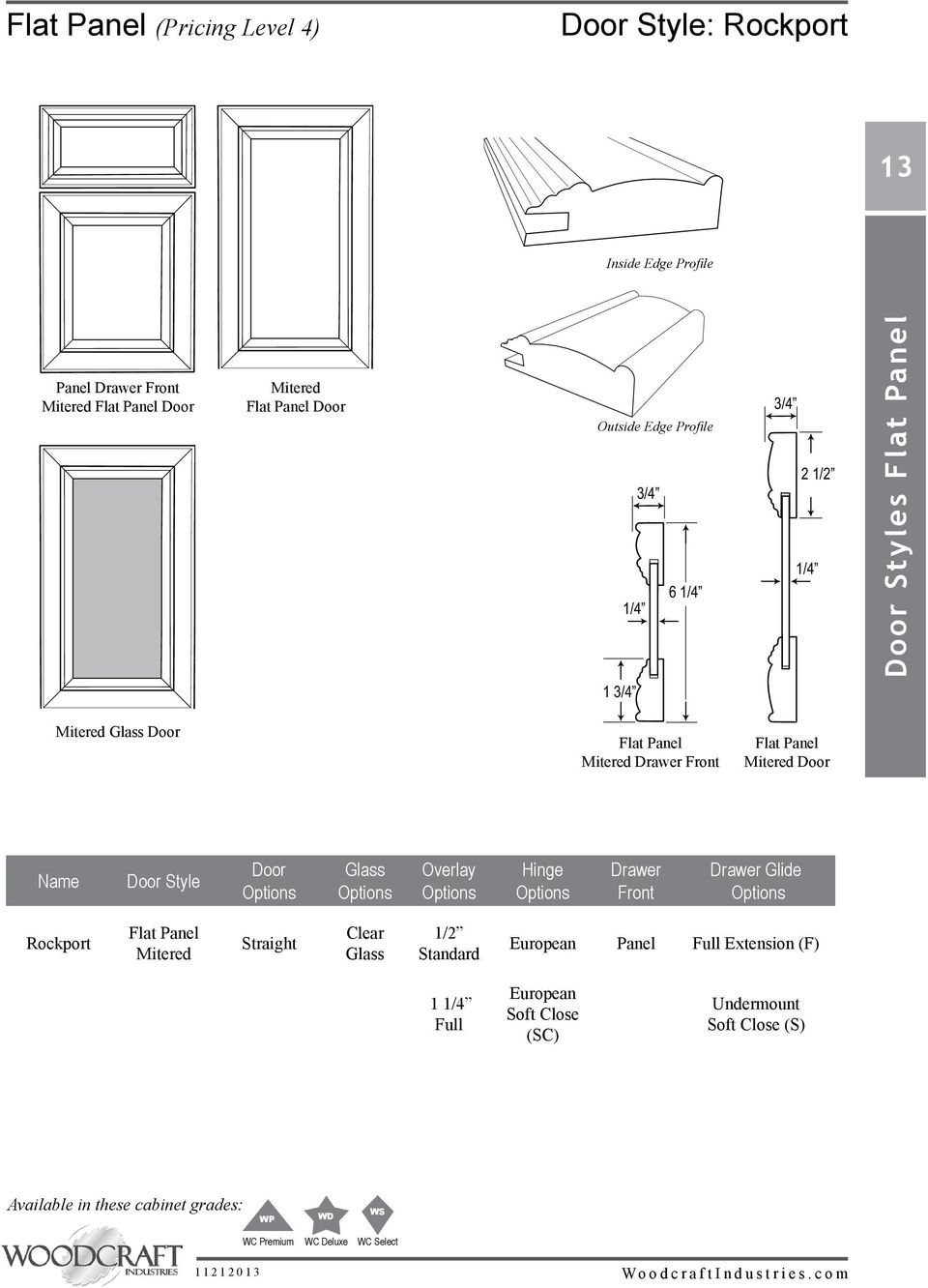 Door Name Door Style Door Glass Overlay Hinge Drawer Front Drawer Glide Rockport Flat Panel Mitered Straight Clear Glass 1/2 Standard European Panel Full Extension (F) 1 1/4 Full