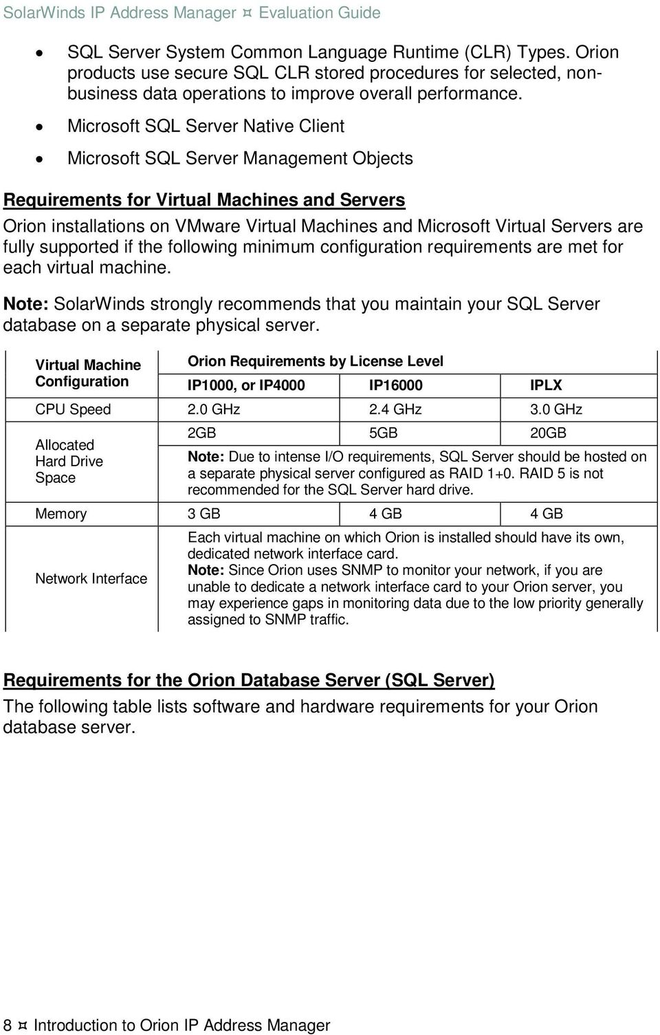 are fully supported if the following minimum configuration requirements are met for each virtual machine.