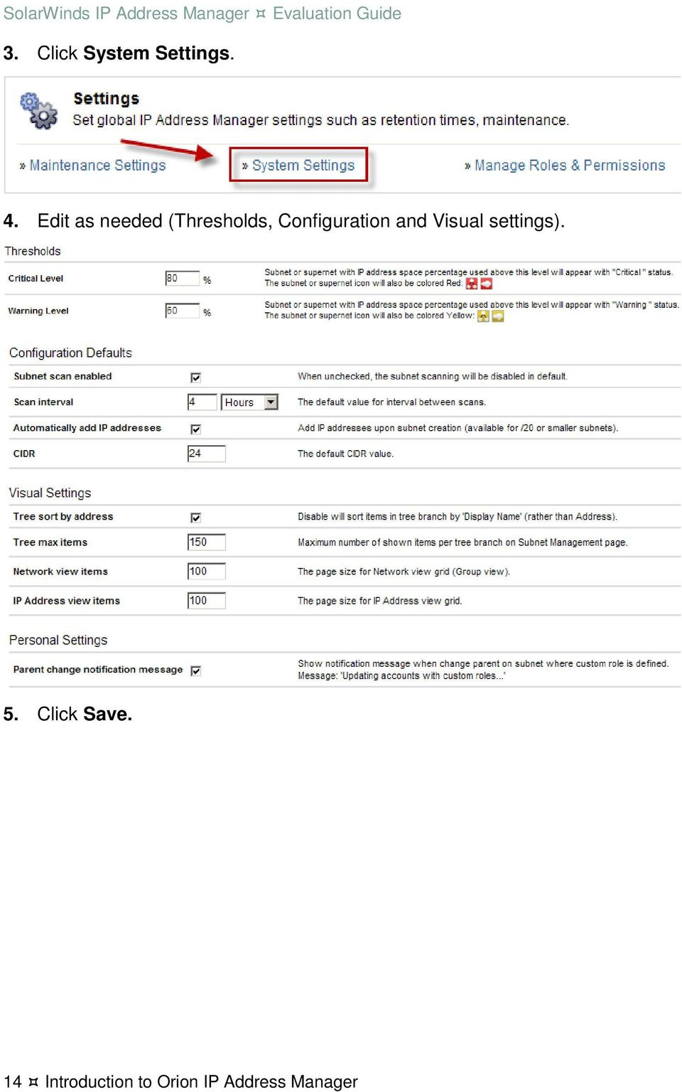 Configuration and Visual settings). 5.
