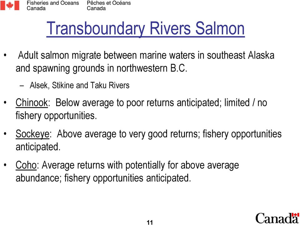 Alsek, Stikine and Taku Rivers Chinook: Below average to poor returns anticipated; limited / no fishery