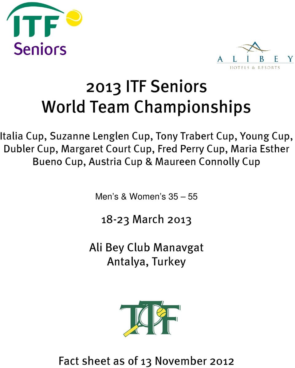 Perry Cup, Maria Esther Bueno Cup, Austria Cup & Maureen Connolly Cup
