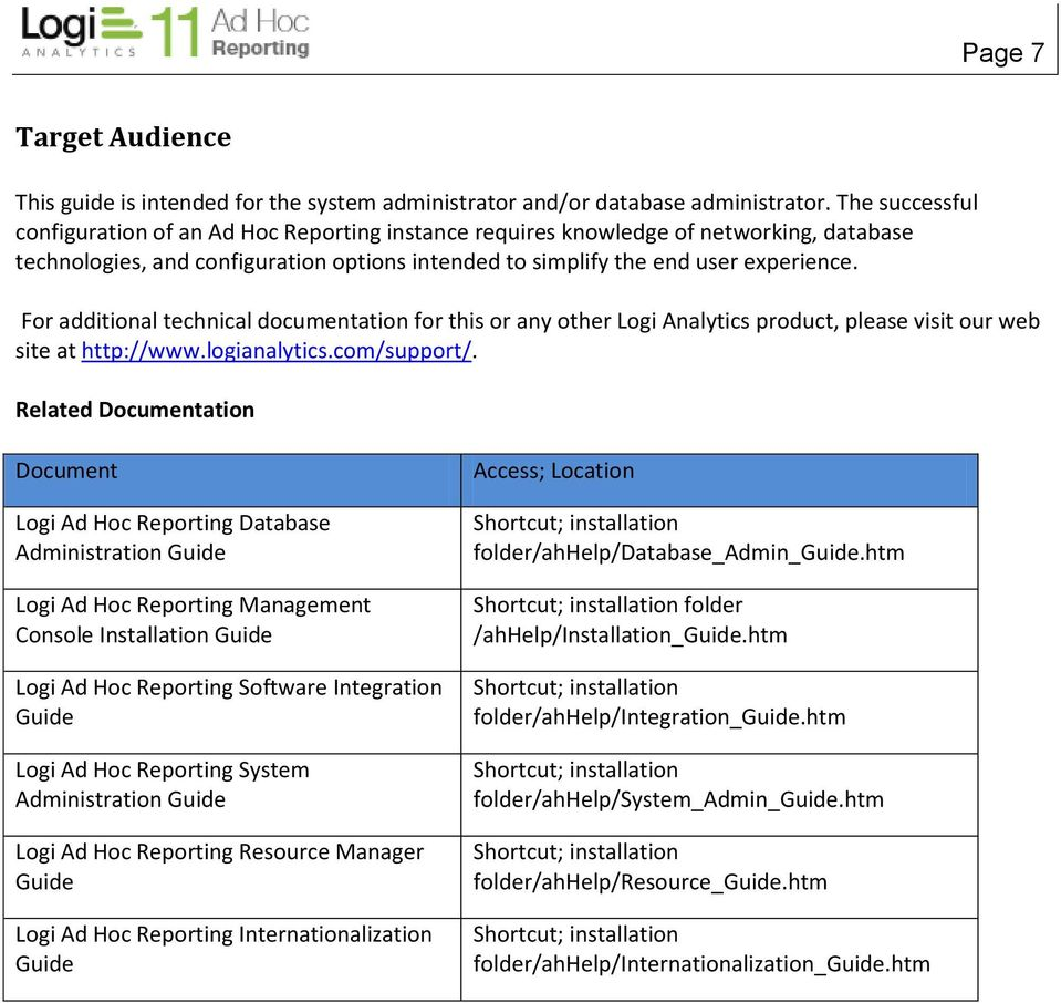 For additional technical documentation for this or any other Logi Analytics product, please visit our web site at http://www.logianalytics.com/support/.