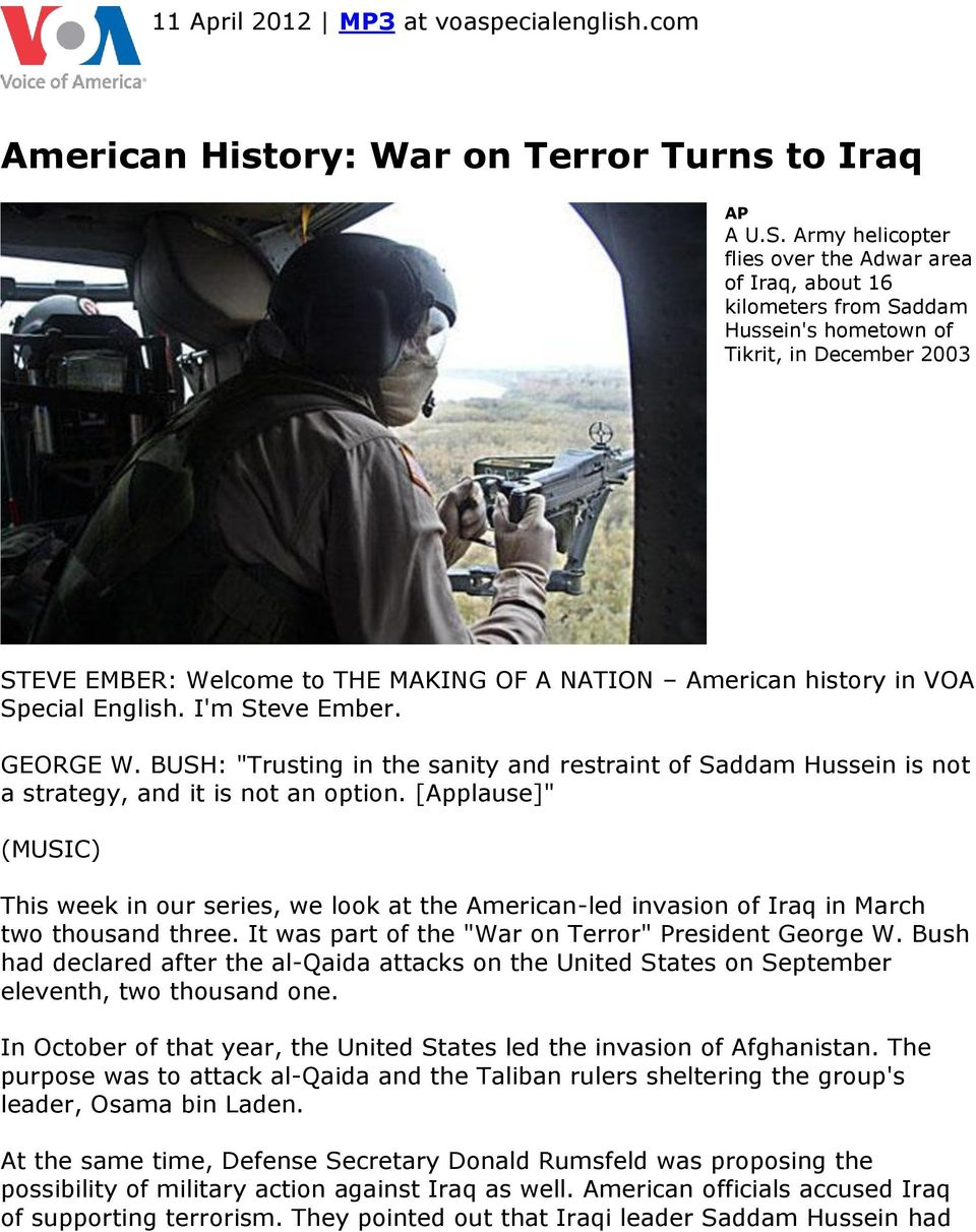 an introduction to the history of the use of united states military action against iraq Have a question about the usa learn where to find answers to the most requested facts about the united states  history, including military.