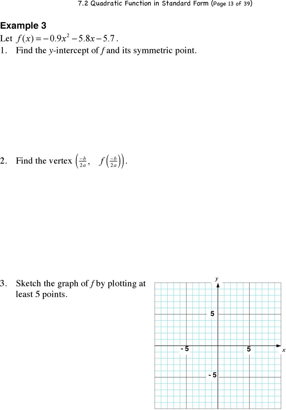 Find the y-intercept of f and its symmetric point.!b 2.