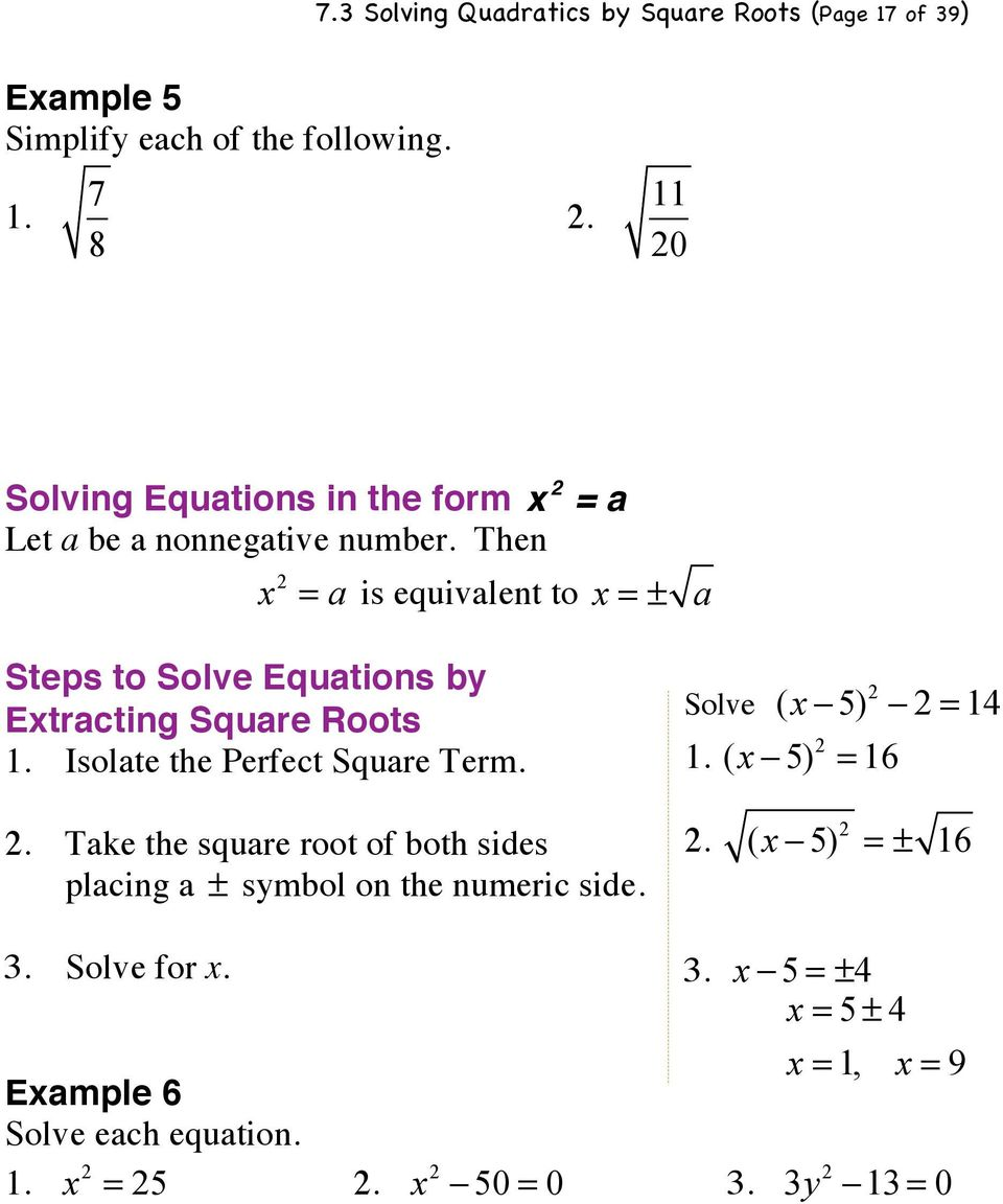 Solving Quadratic Equations By Extracting Square Roots