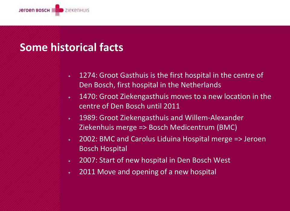 Ziekengasthuis and Willem-Alexander Ziekenhuis merge => Bosch Medicentrum (BMC) + 2002: BMC and Carolus Liduina
