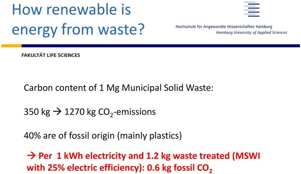 emissionsi i 40% are of fossil origin (mainlyplastics) Per 1 kwh