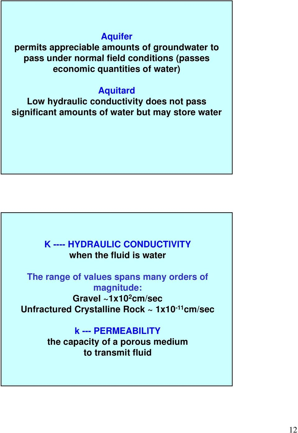 HYDRAULIC CONDUCTIVITY when the fluid is water The range of values spans many orders of magnitude: Gravel ~1x10