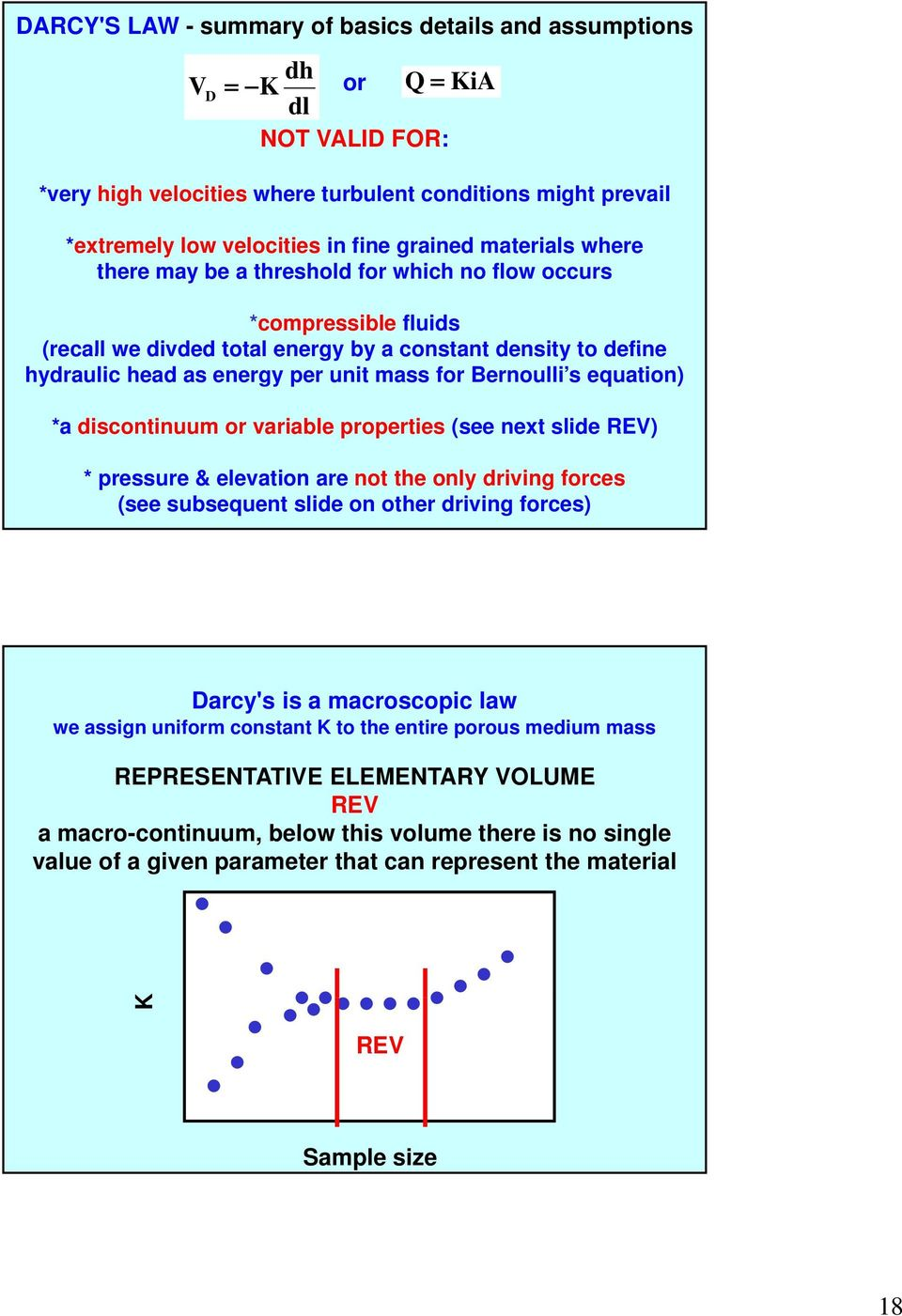 Bernoulli s equation) *a discontinuum or variable properties (see next slide REV) * pressure & elevation are not the only driving forces (see subsequent slide on other driving forces) Darcy's is a