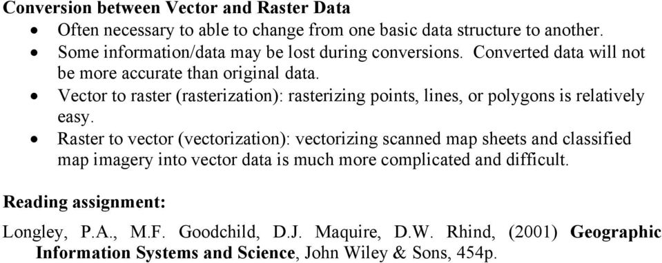 Vector to raster (rasterization): rasterizing points, lines, or polygons is relatively easy.