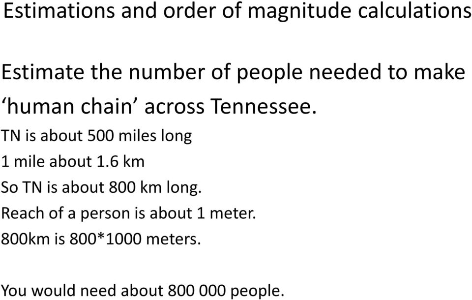 TN is about 500 miles long 1 mile about 1.6 km So TN is about 800 km long.