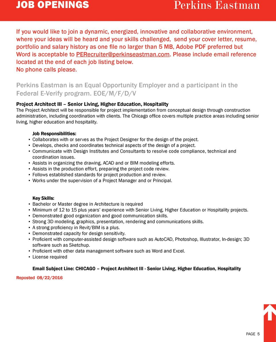 JOB OPENINGS  CHARLOTTE Project Manager II Architectural Designer I