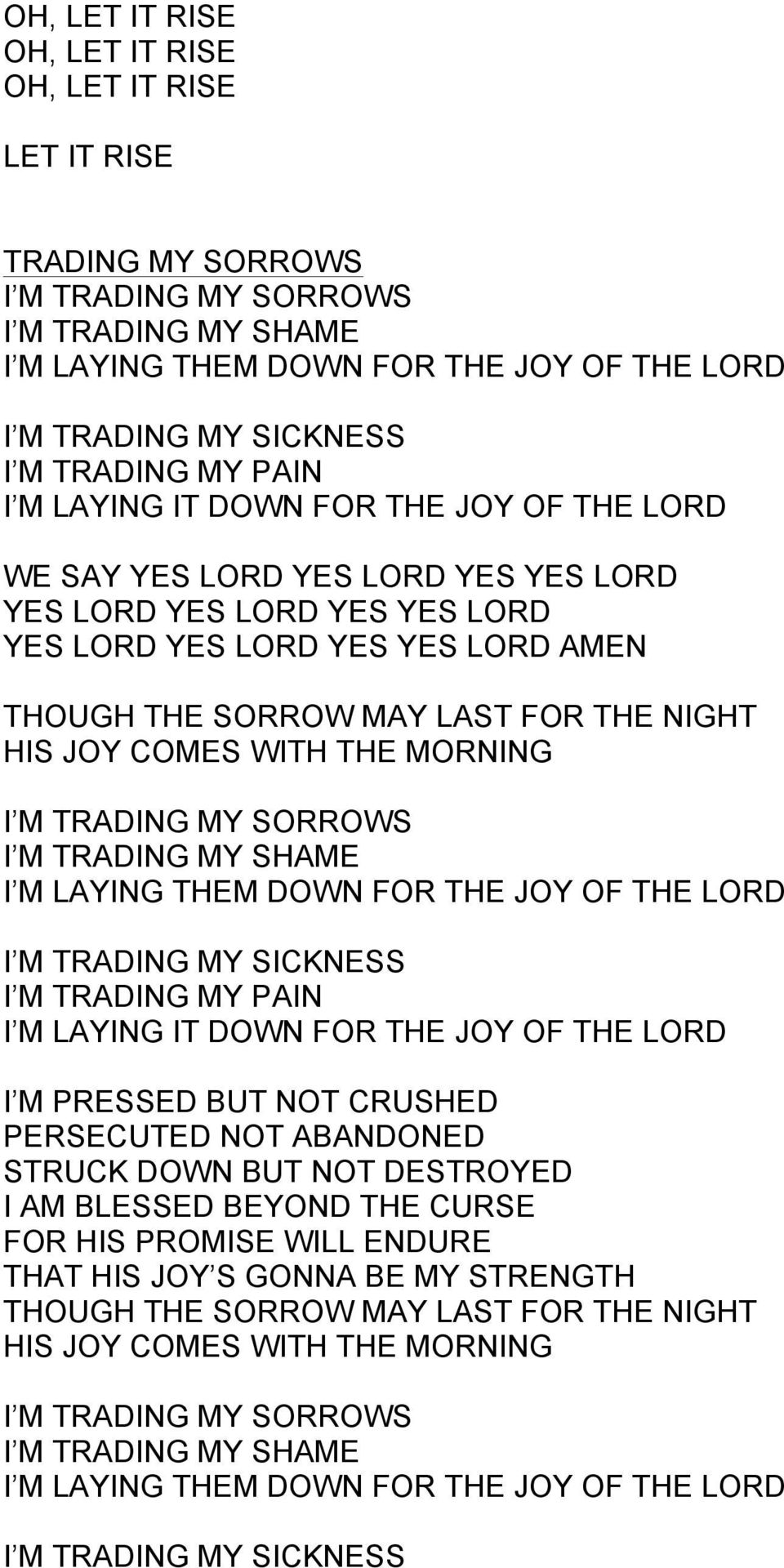 NIGHT HIS JOY COMES WITH THE MORNING I M TRADING MY SORROWS I M TRADING MY SHAME I M LAYING THEM DOWN FOR THE JOY OF THE LORD I M TRADING MY SICKNESS I M TRADING MY PAIN I M LAYING IT DOWN FOR THE