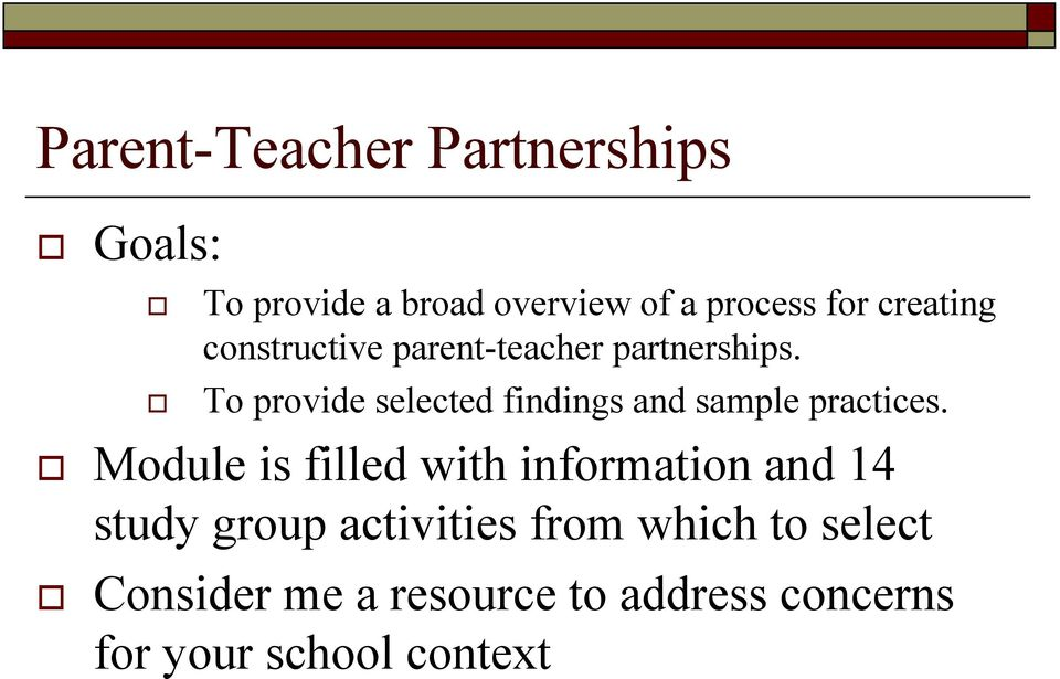 partnerships.! To provide selected findings and sample practices.