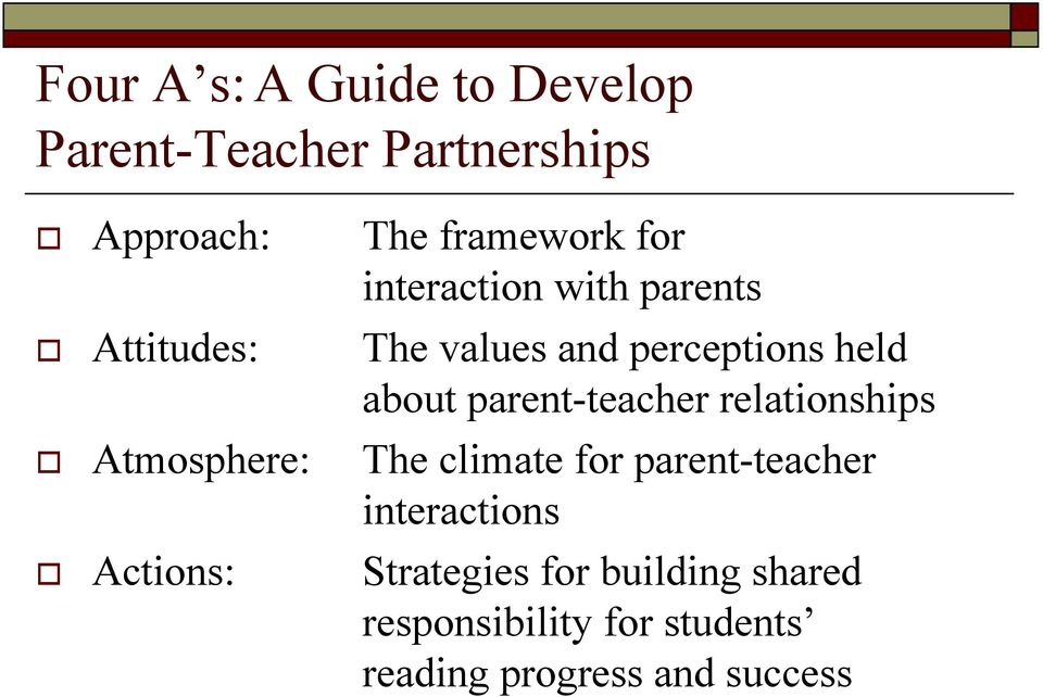 Attitudes: The values and perceptions held about parent-teacher relationships!