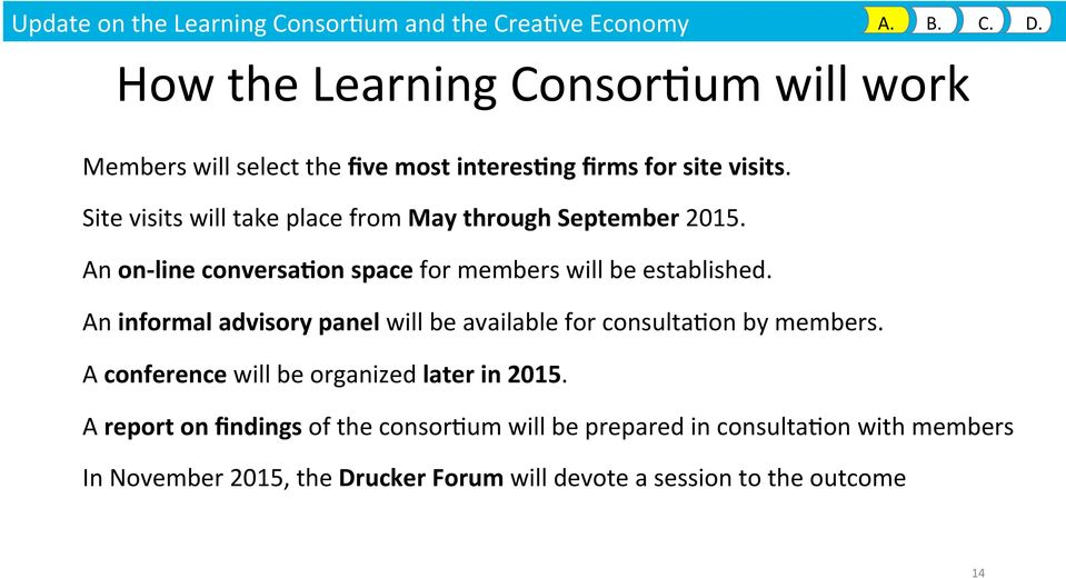 Site visits will take place from May through September 2015. An on- line conversa&on space for members will be established.