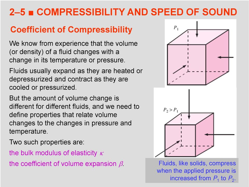 But the amount of volume change is different for different fluids, and we need to define properties that relate volume changes to the changes in pressure and