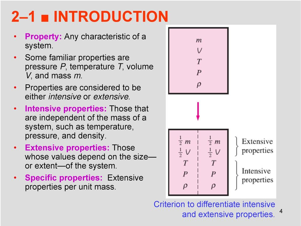 Properties are considered to be either intensive or extensive.