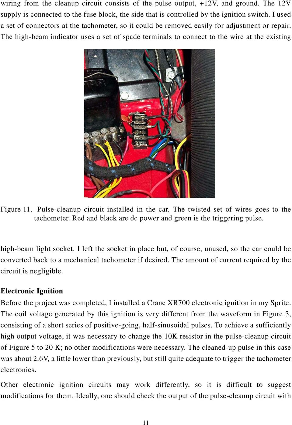 Austin Healey Sprite Electronic Tachometer Conversion Pdf Car Circuit Schematic Diagram The High Beam Indicator Uses A Set Of Spade Terminals To Connect Wire