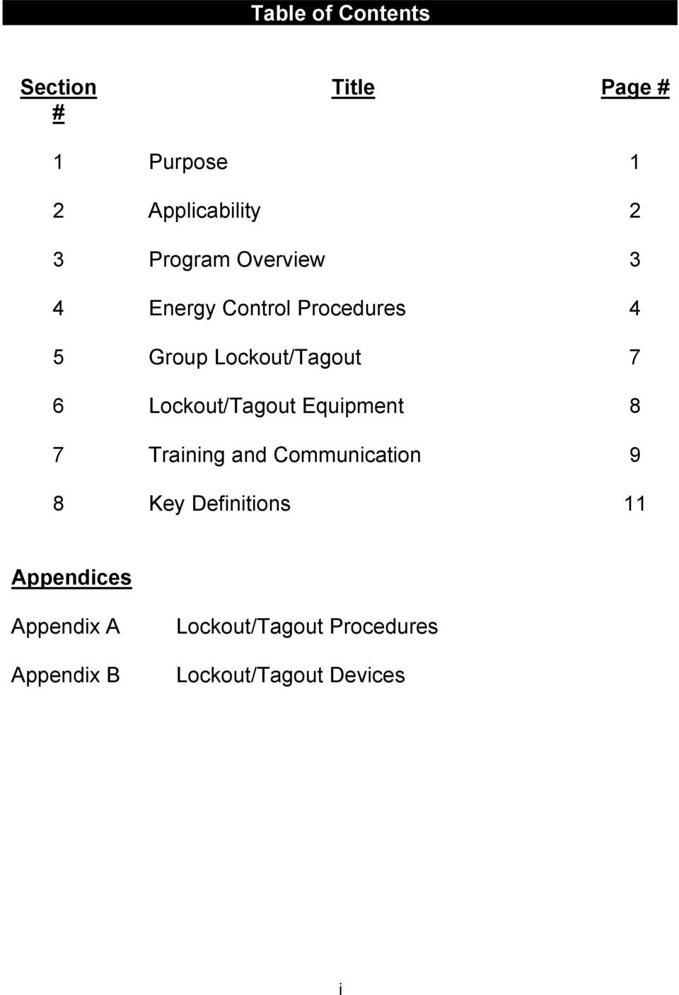 Lockout/Tagout Equipment 8 7 Training and Communication 9 8 Key Definitions