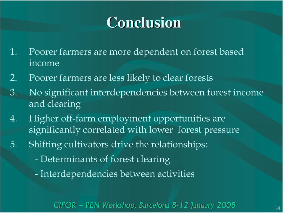 No significant interdependencies between forest income and clearing 4.