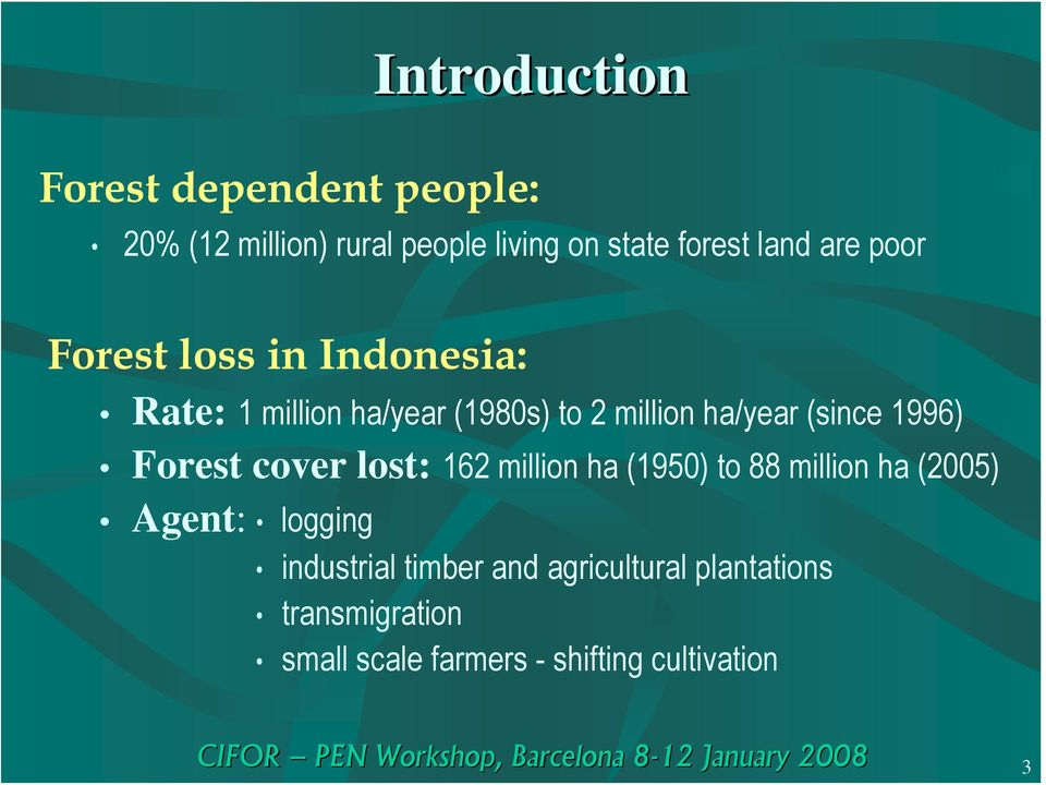 1996) Forest cover lost: 162 million ha (1950) to 88 million ha (2005) Agent: logging
