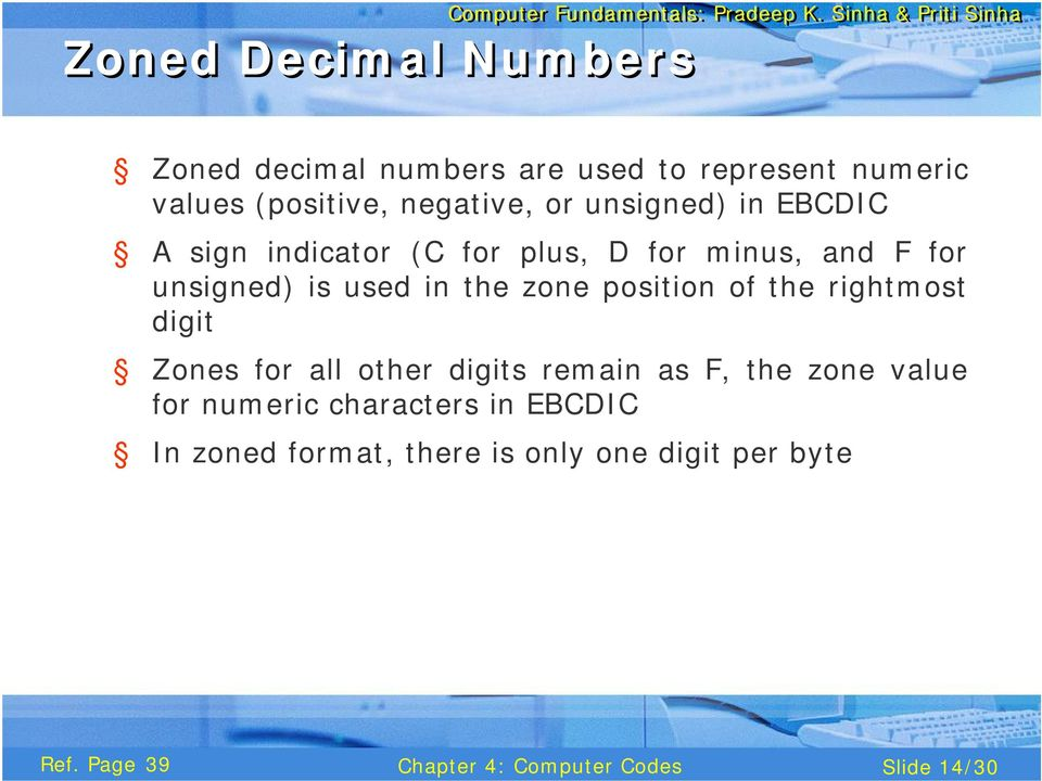 is used in the zone position of the rightmost digit Zones for all other digits remain as F, the
