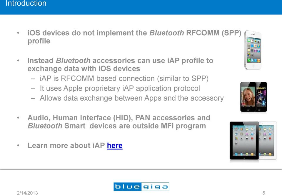 proprietary iap application protocol Allows data exchange between Apps and the accessory Audio, Human Interface