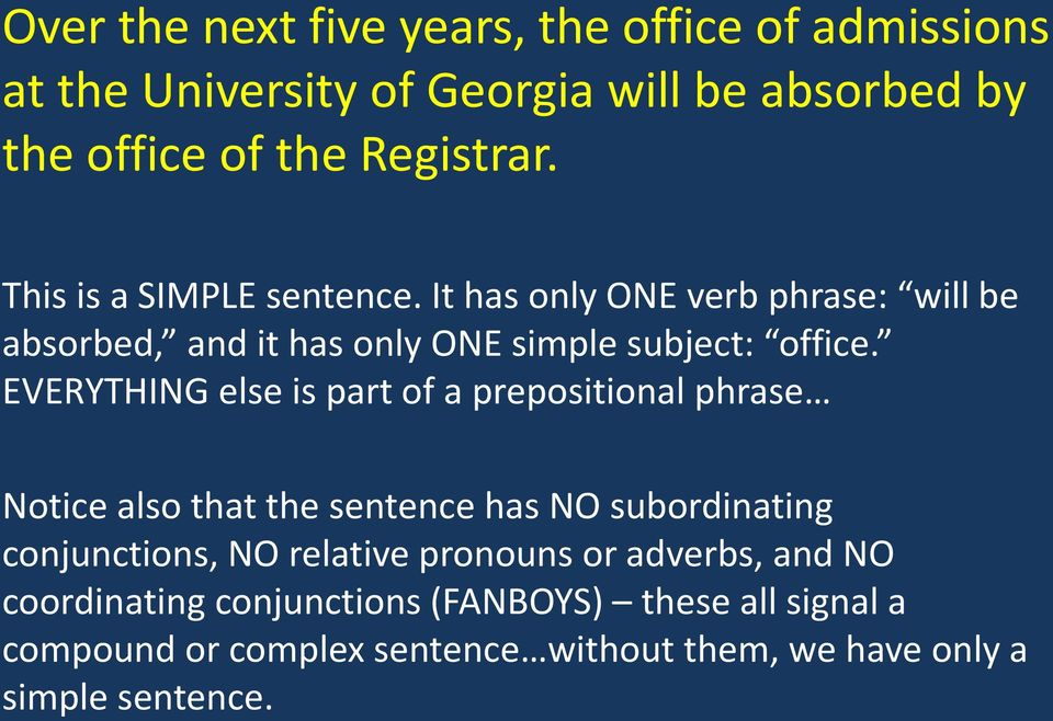 EVERYTHING else is part of a prepositional phrase Notice also that the sentence has NO subordinating conjunctions, NO relative