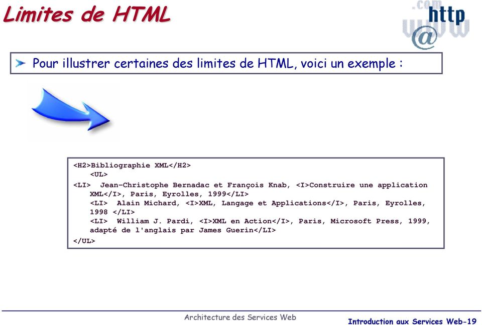 <I>Construire une application XML</I>, Paris, Eyrolles, 1999</LI> <LI> Alain Michard,