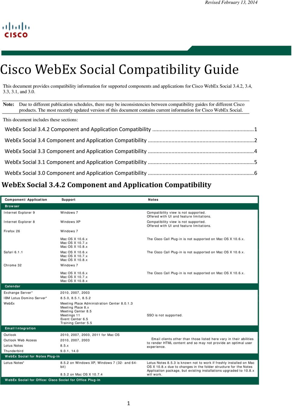 The most recently updated version of this document contains current information for Cisco WebEx Social. This document includes these sections: WebEx Social 3.4.