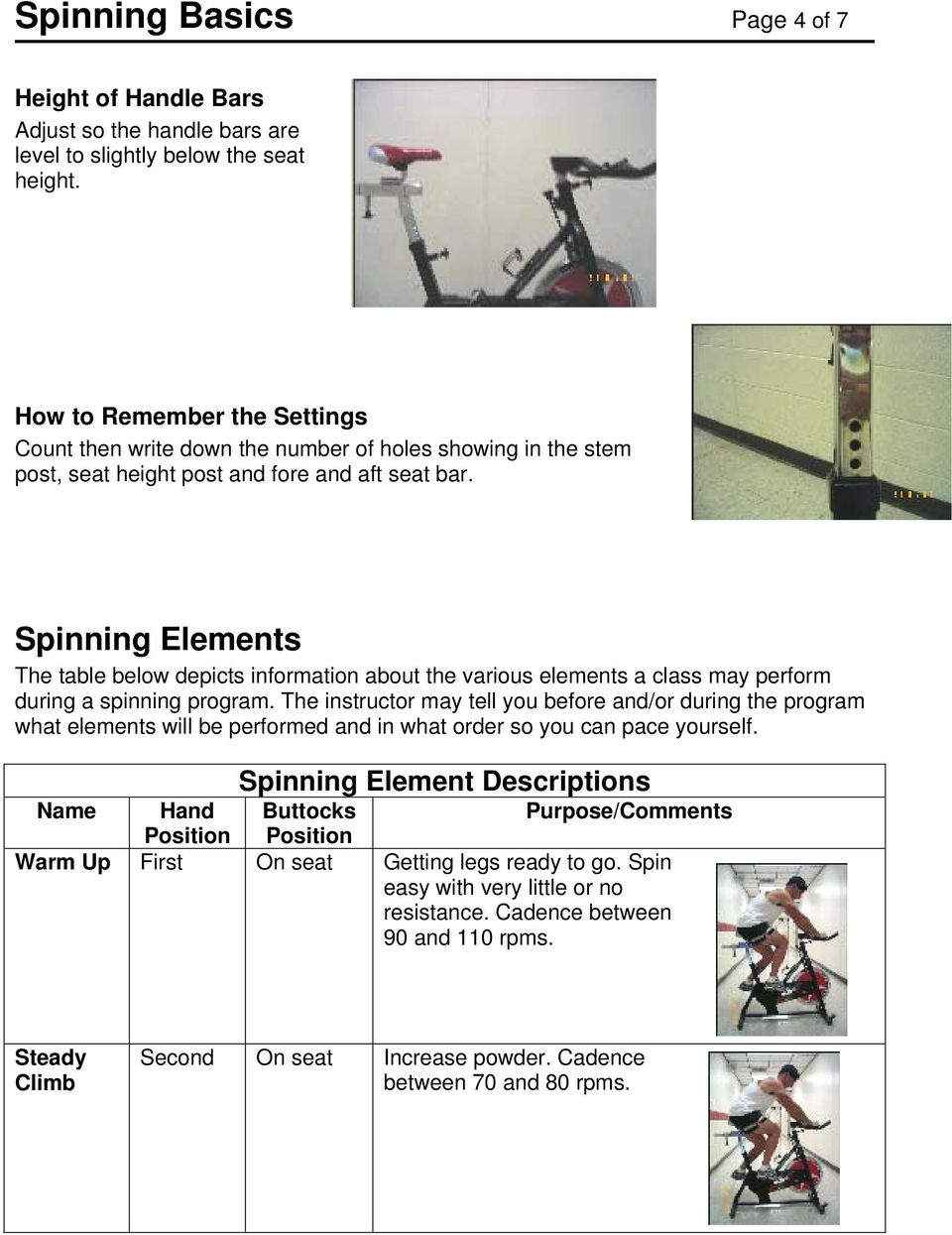 Spinning Elements The table below depicts information about the various elements a class may perform during a spinning program.