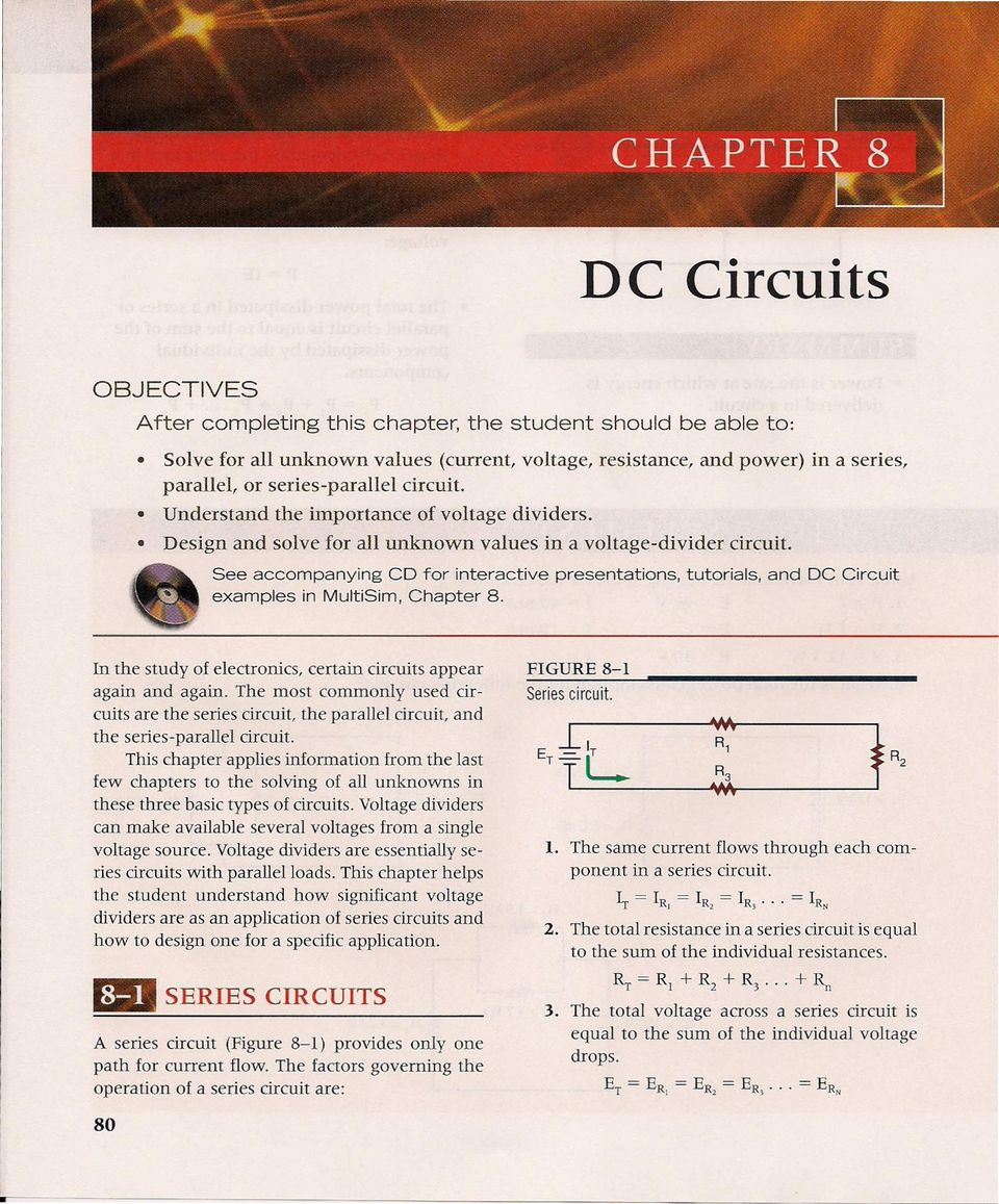 After Completing This Chapter The Student Should Be Able To Pdf Voltage Drop In A Parallel Circuit See Accompanying Cd For Interactive Presentations Tutorials And Dc Examples Multisim