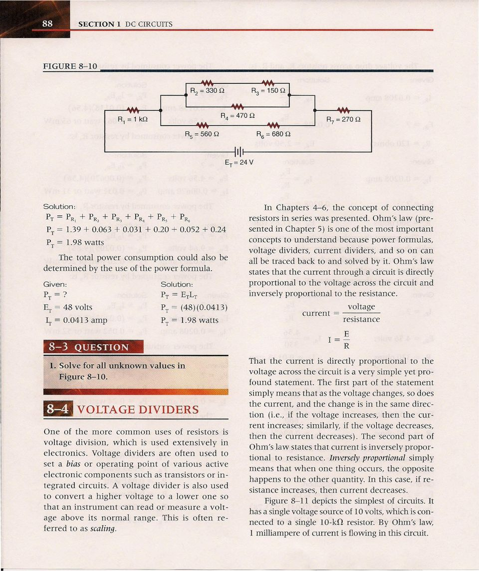 After Completing This Chapter The Student Should Be Able To Pdf Resistors Simple Voltage Divider Question Electrical Engineering Solve For All Unknown Values In Figure 8 10 11ii Divids P T