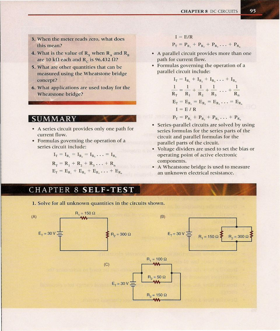 After Completing This Chapter The Student Should Be Able To Pdf Circuits Together With Series Circuit Formula On Parallel Summary A Provides Only One Path For Current Flow