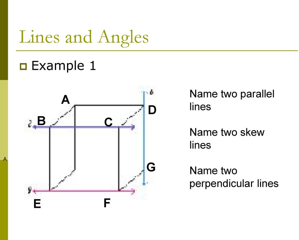 lines Name two skew lines A