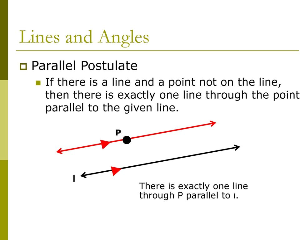 exactly one line through the point parallel to the