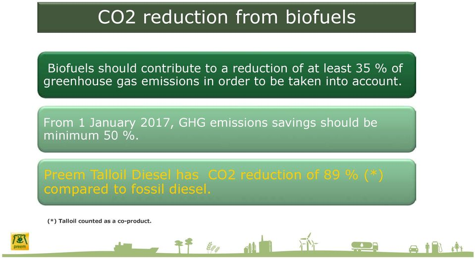 From 1 January 2017, GHG emissions savings should be minimum 50 %.