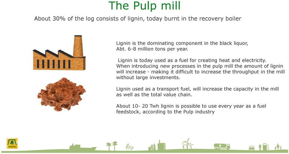 When introducing new processes in the pulp mill the amount of lignin will increase - making it difficult to increase the throughput in the mill without