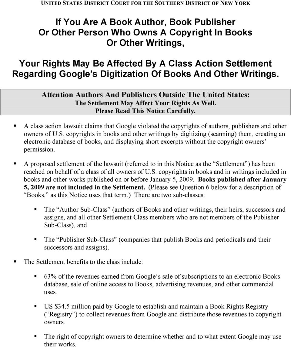 Attention Authors And Publishers Outside The United States: The Settlement May Affect Your Rights As Well. Please Read This Notice Carefully.