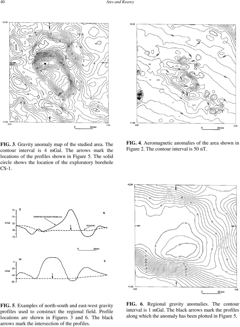 nt. FIG. 5. Examples of north-south and east-west gravity profiles used to construct the regional field. Profile locations are shown in Figures 3 and 6.