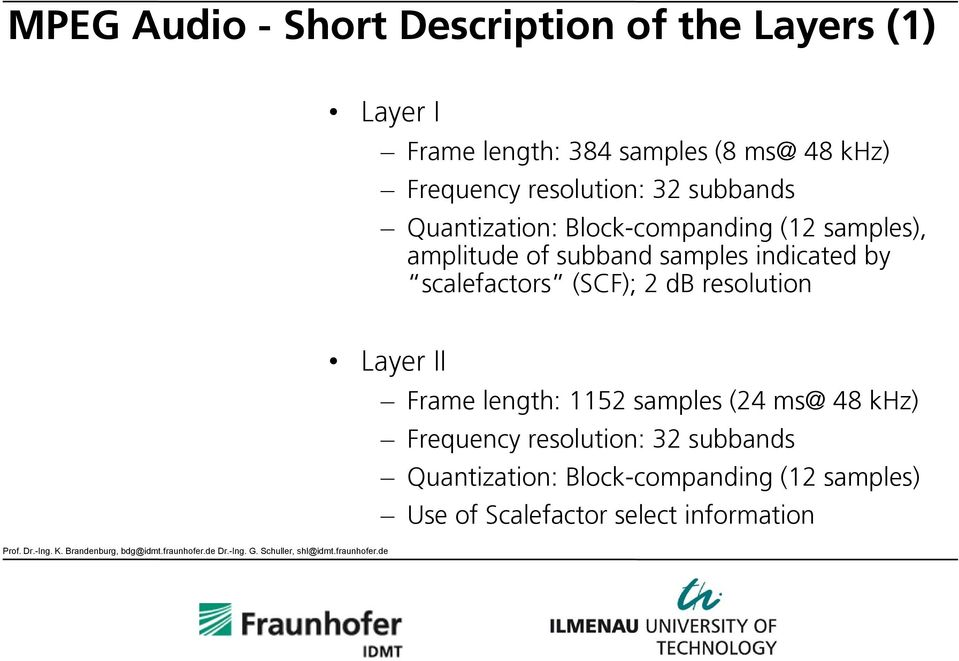 samples indicated by scalefactors (SCF); 2 db resolution Layer II Frame length: 1152 samples (24 ms@ 48