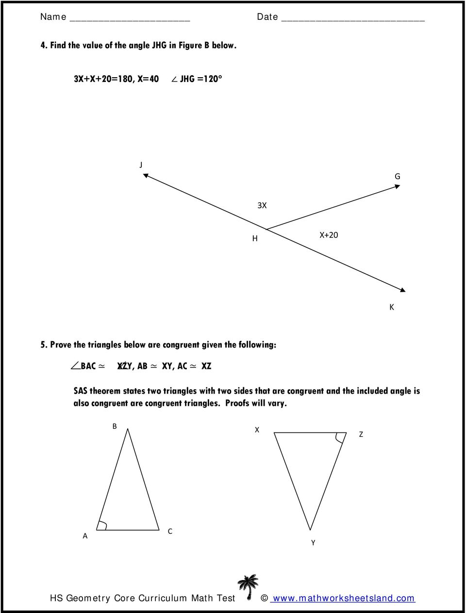 Prove the triangles below are congruent given the following: BAC XZY, AB XY, AC XZ SAS