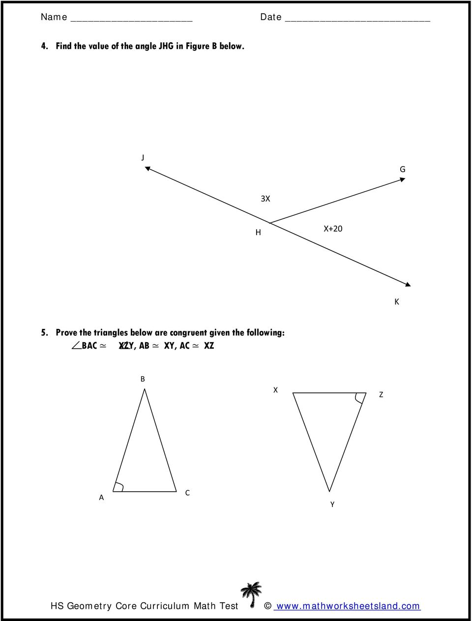 Prove the triangles below are congruent